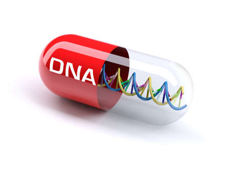 medical capsule with a DNA molecule structure inside, 3d illustration