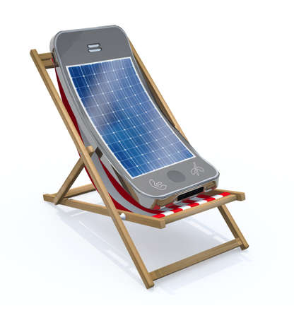 smartphone with solar panel on screen that rest in beach chair, 3d illustration
