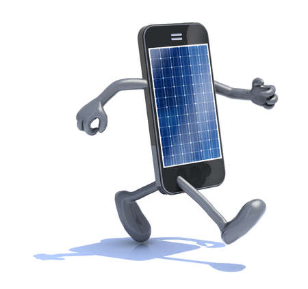 smart phone with solar panel, arms and legs that runs, 3d illustration