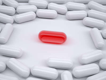 White pills on the table with red pill on center, 3D illustration Stock Photo