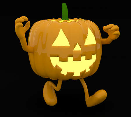 Halloween pumpkin with arms and legs on dark background, 3d illustration