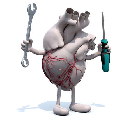 human heart with arms, legs, face and tools on hands, 3d illustration
