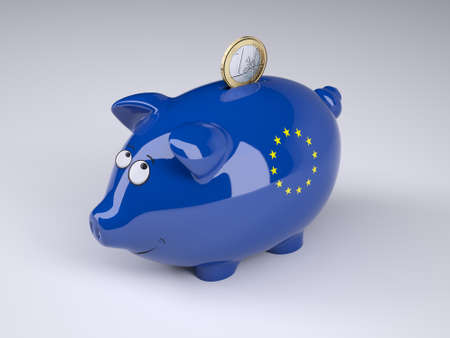Piggy bank with Euro flag and one euro coin, 3D illustration