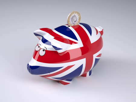 Piggy bank with English flag and sterling coin, 3D illustration