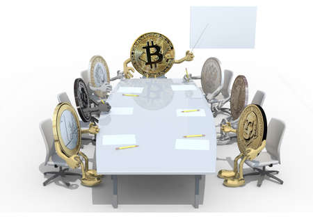 many coins different currency, around the table and follow their boss, 3d illustration Stock Photo