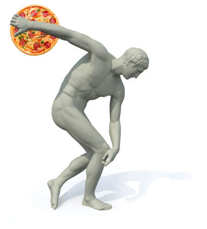 discobolus with pizza launching, 3d illustration Stock Photo