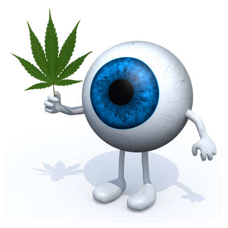 eyeball with arms, legs and marijuana leaf on hand, 3d illustration Stock Photo