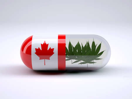 Pill with Canadian flag wrapped around it and marijuana leafs inside, 3d illustration