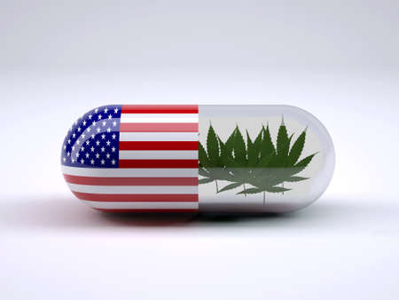 Pill with American flag wrapped around it and marijuana leafs inside, 3d illustration