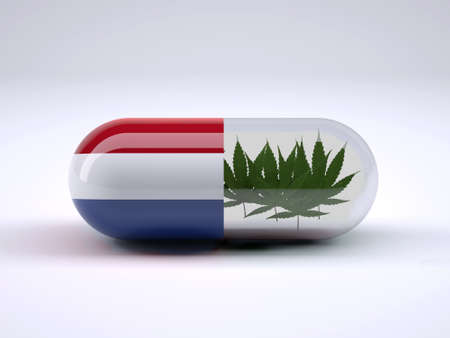 Pill with Holland flag wrapped around it and marijuana leafs inside, 3d illustration