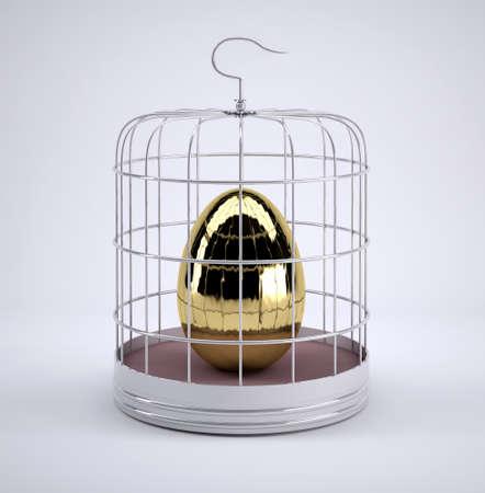 Birdcage with golden egg inside, 3d illustration