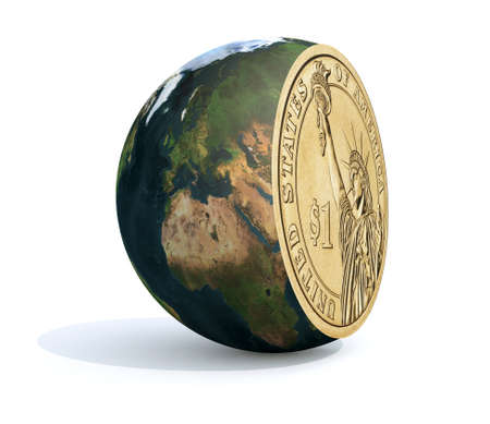 the world sliced and dollar coin inside, 3d illustration