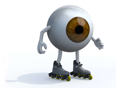brown eyeball with arms, legs and roller skates on feet, 3d illustration