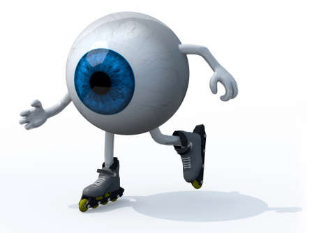 blue eyeball with arms, legs and roller skates on feet, 3d illustration Stock Photo