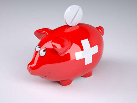 Piggy bank with swiss flag and pill, 3D illustration
