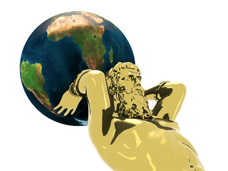 Atlante golden statue with earth, 3d illustration