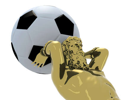 Atlante golden statue with soccer ball instead earth, 3d illustration