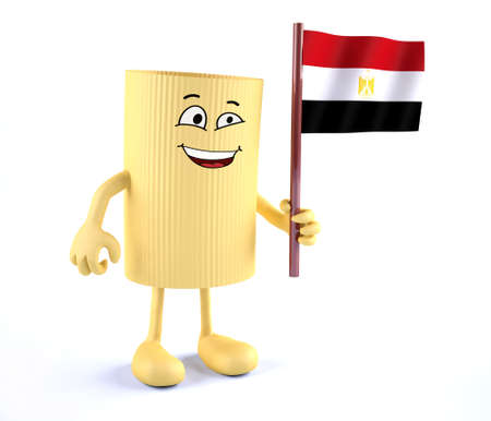 macaroni pasta with arms, legs and Egyptian flag on hand, 3d illustration
