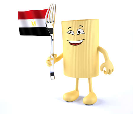 macaroni pasta with arms, legs, fork and Egyptian flag, 3d illustration