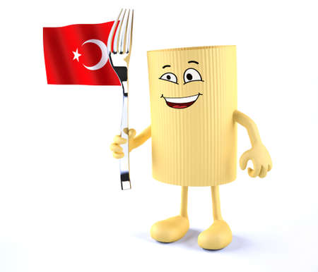 macaroni pasta with arms, legs, fork and Turkish flag, 3d illustration Stock Photo