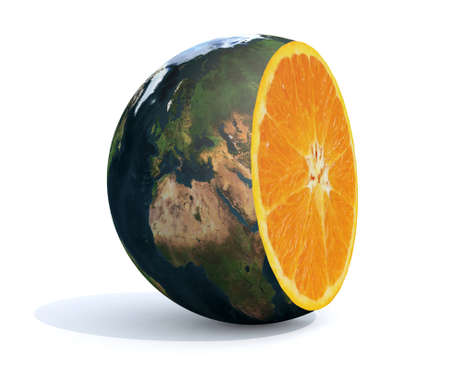 planet earth cut with an orange inside, 3d illustration