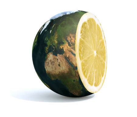 planet earth cut with an lemon inside, 3d illustration