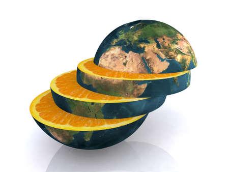 le monde orange en tranches, illustration 3d