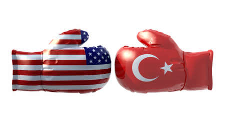 Boxing gloves with Usa and Turkey flag, isolated 3d illustration