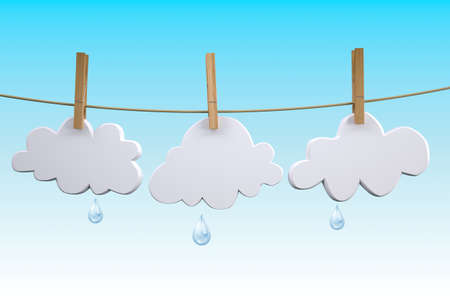 three clouds hanging by clothes peg on a clothesline, 3d illustration Stock Photo