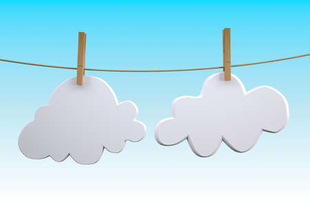 two clouds hanging by clothes peg on a clothesline, 3d illustration Stock Photo