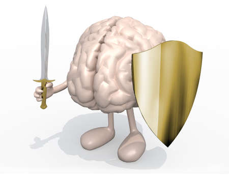 Brain organ with sword and shield, 3d illustration Stock Photo