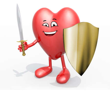 Heart with sword and shield, 3d illustration Stock Photo