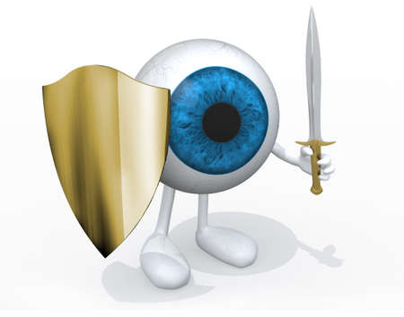 Blue eye ball with sword and shield, 3d illustration Stock Photo