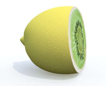 lemon cutted with kiwi inside, 3d illustration