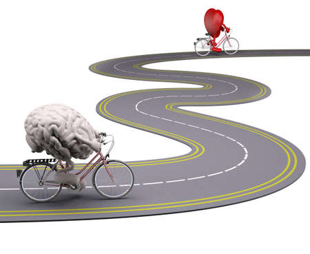 human brain and heart with arms and legs on bicycle on the road that follow each other, 3d illustration