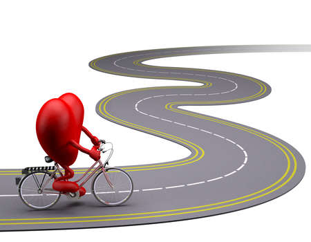 heart with arms and legs on bicycle on the road, 3d illustration Stock Photo
