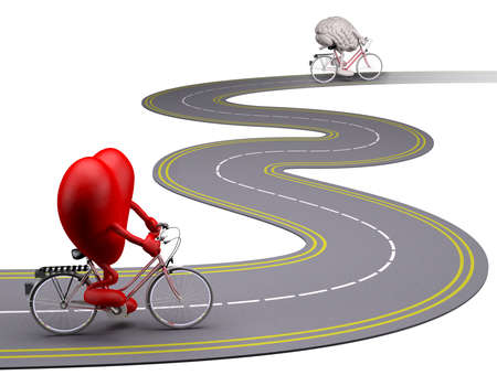 heart an brain with arms and legs on bicycle on the road that follow each other, 3d illustration