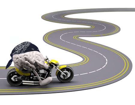 brain with arms and legs on motorbike on the road, 3d illustration Stock Photo