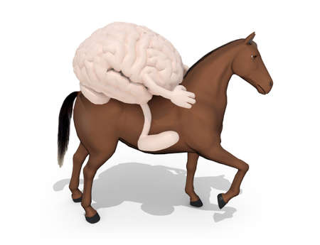 horse with human brain above him, 3d illustration Stock Photo