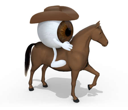 horse with brown eyeball cartoon above him, 3d illustration