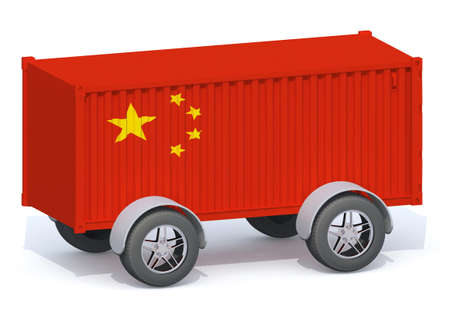 China Flag Shipping Container with wheels, 3d illustration Stock Photo