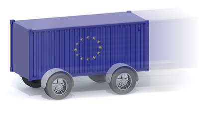 Euro Flag Shipping Container with wheels, 3d illustration Stock Photo