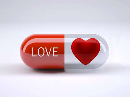 red pill with written love and heart inside it, 3d illustration Stock Photo