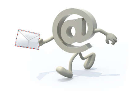 email symbol with arms, legs and envelope on hand, isolated on a white background 3d illustration