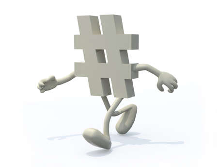 hashtag symbol with arms and legs on a white background 3d illustration