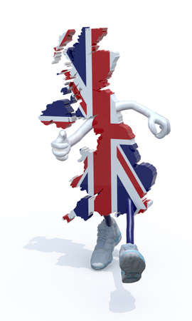 map of United Kingdom with arms, legs and sneackers on his feet that runs, 3d illustration