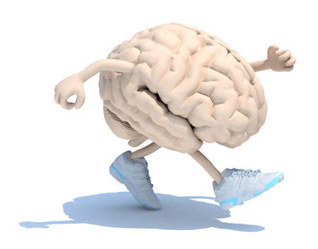 human brain with arms, legs and sneackers on his feet that is running, 3d illustration