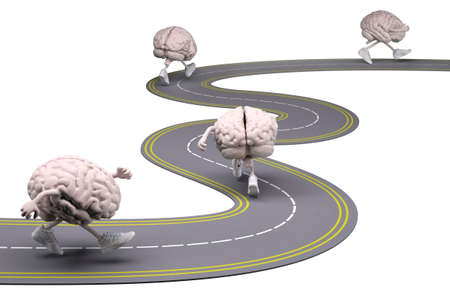human brains with arms, legs and sneackers on feet that runs in the street, 3d illustration Stock Photo