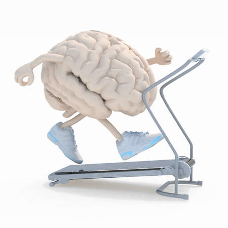human brain with arms, legs and sneackers on his feet on a running machine, 3d illustration