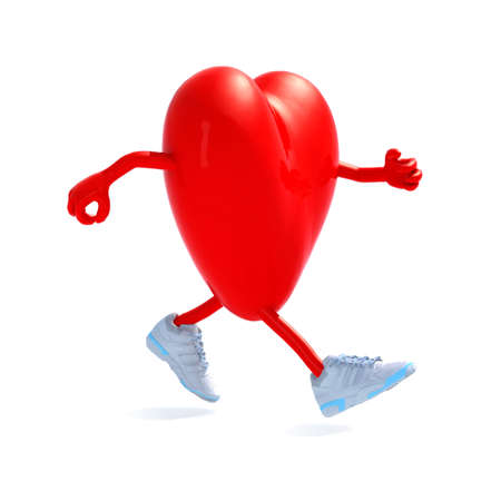 cartoon heart with arms, legs and sneackers that is running, 3d illustration